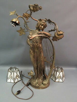 Antique French Nouveau Figural Brass Woman Harp Lamp Mother Pearl Glass Shades