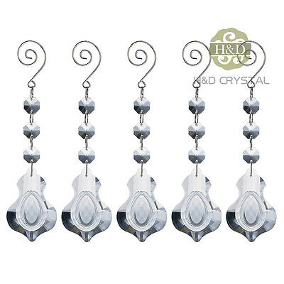 1pcs Clear Crystal Violin Shape Lamp Prisms Xmas Hanging Decor Suncatcher Drop