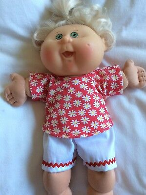 "DOLLS CLOTHES made to fit 14"" CABBAGE PATCH DOLL - Shorts Top. Red. White"