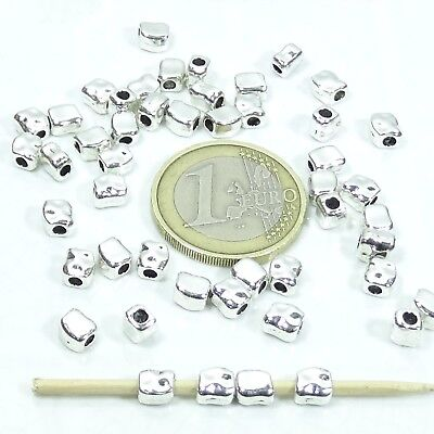 135 Tubos Facetados 5x4mm  T532C Plata Tibetano Spacer Beads Tubi Perline Pelle