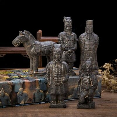 Set Of 5 Antique Reproduction Qin Dynasty Terra cotta Warrior Collectible...