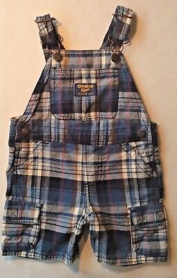 OshKosh B'Gosh Vestbak Baby Boy's Blue Plaid Shorts Overalls 12 Months