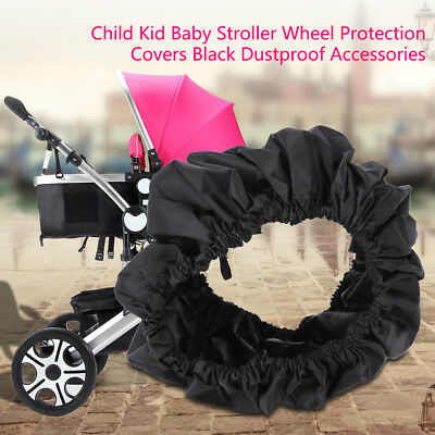4Pcs Child Kid Baby Stroller Wheel Protection Covers Black Dustproof Accessories