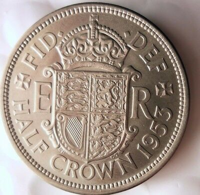 1953 GREAT BRITAIN 1/2 CROWN- AU/UNC - From Mint Set - FREE SHIP - Britain Bin E