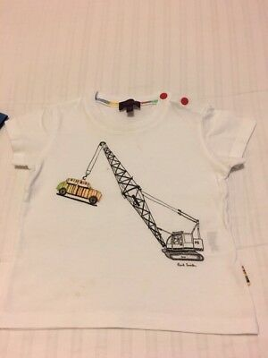 Paul Smith - Baby Boys Age 12 Months - 1 Year Old - White T-Shirt Top