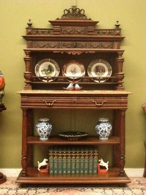 ANTIQUE FRENCH CARVED OAK 4 TIER DISPLAY STAND SIDEBOARD HALL CABINET   c1920s