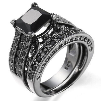 Luxury Vintage Rock Style Black Topaz Gems Black Gold Plated Double Ring SZ 6-10