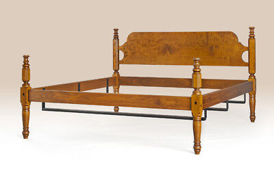 Antique Style Full Size Poster Bed Frame New Tiger Maple Wood Furniture Quality