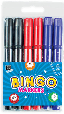 Bingo Markers 6 Pack Dabbers Pens Black Red Blue Set Party Fun