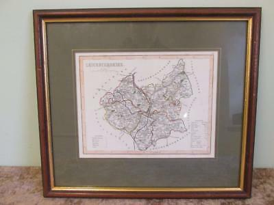 Framed Antique Map of Leicestershire 1840's by J Archer of Pentonville London