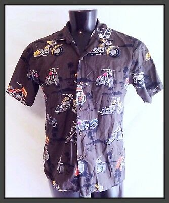 Vintage Men's 1970s 80s Hawaii Hawaiian Tropical Motorcycle Bike Shirt, Sz S
