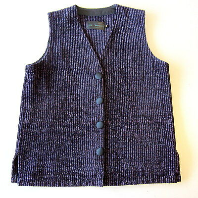 Lynn Yarrington Purple Black Stripe Chenille Vest Size Small S