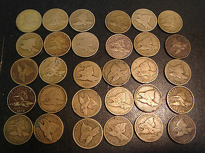 30 Cull Copper Nickel Flying Eagle Cents includes 1857 1858 Large Small Letters