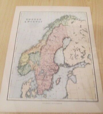 SWEDEN & NORWAY Antique Map (from Chambers Encylopaedia) Victorian Map