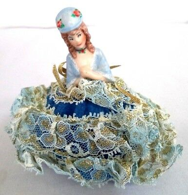 "Beautiful Vintage Estate Bisque Victorian Lady Dress 4"" Pin Cushion!!! B108"
