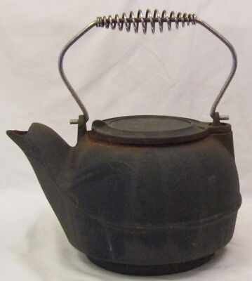 Vintage Large Cast Iron Tea Water Kettle Humidifier Pot Swing Lid Metal Handle