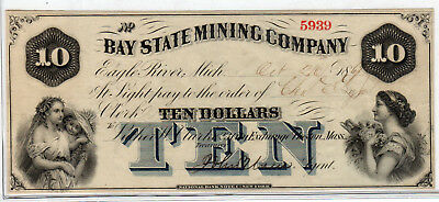1861 US Obsolete Currency - Bay State Mining Company, MA - $10 - Circulated XF*