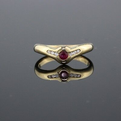 Vintage Estate 18K Yellow Gold Ruby and Diamond Ring