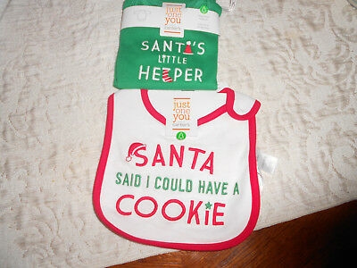 Adorable Infant's~SANTA'S LITTLE HELPER~ bodysuit~Size 3 Months & Cute BIB~New