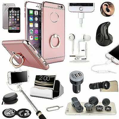 Pink Ring Holder Case Bluetooth Headset Monopod Lens Accessory For iPhone 7 Plus