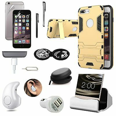 Gold Kickstand Case Cover Bluetooth Headset Accessory Bundle For iPhone 7 Plus