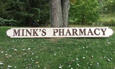 Huge Wood Carved Store Trade Sign MINK'S PHARMACY Signed Ric Walter 11-7-87 16'