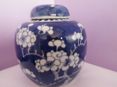 Fabulous Hand-Painted Chinese Prunus Tree Design Ginger Jar/pot/vase 15 Cms Tall