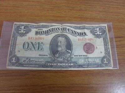 One 1 Dollar  Banknote From 1923 Dominion Of Canada B4121008 Red Seal