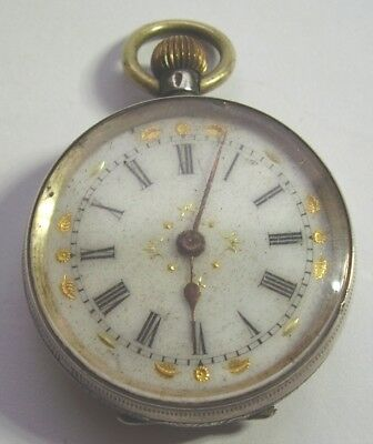 ANTIQUE SILVER POCKET WATCH LADIES FOB PRETTY DIAL ENGRAVED FOR REPAIR c 1900