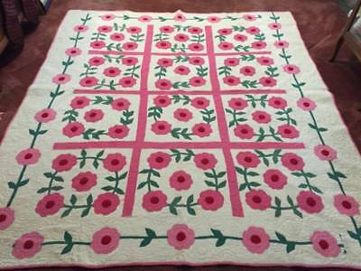 Carlie Sexton Pattern Wreath of Roses Signed Antique Applique Quilt (5654)