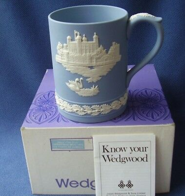 Wedgwood- Blue Jasper Ware, Large 1973 Christmas Mug *tower Of London* Boxed Vgc