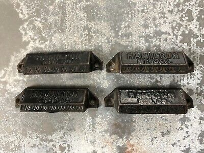 4 Vintage Hamilton Ornate Cast Iron Letter press Printer type tray Drawer Pulls