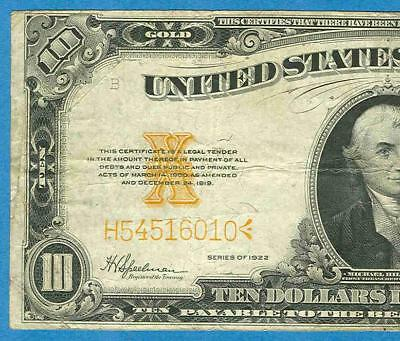 $10. Fr. 1173 1922 Gold Seal Gold Certificate  Very Fine  No Reserve