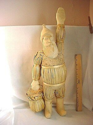 Hand Carved Santa Claus Figure 21 inch Folk Naive Wood Decoration Scandinavian