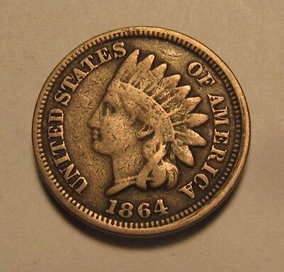 1864 Copper Nickel Indian Head Cent Penny - Very Good to Fine Condition - 30FR