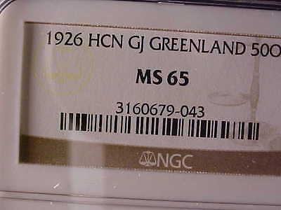 Greenland 50 Øre 1926 Ngc Ms 65