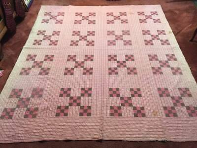 1880's Better than Cutter Antique Double Nine Patch Quilt (8912)