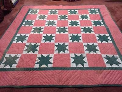 Turn of the Century Green & Red Ohio Star Antique Quilt (01760)
