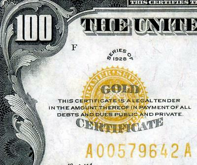 HGR FRIDAY 1928 $100 X-RARE Grade ((Gold Certificate)) Appears Near UNCIRCULATED