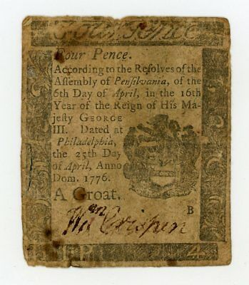 (PA-198) April 25th, 1776 4d (Four Pence) PENNSYLVANIA Colonial Currency Note