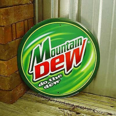 "Mountain Dew Do The Dew Round 12"" Green Metal Tin Sign Vintage Garage Logo Mt"