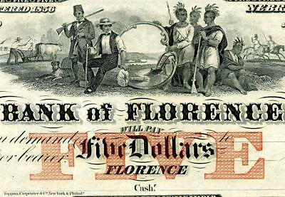HGR FRIDAY 1850's $5 Florence NE (Cowboys and Indians) Appears GEM UNCIRCULATED