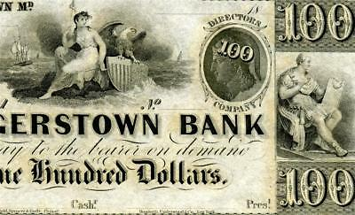 HGR FRIDAY 1830's-50's $100 Hagerstown, MD ((SCARCE)) Appears GEM UNCIRCULATED
