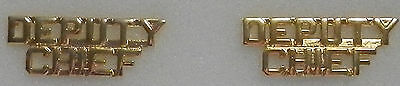 "DEPUTY CHIEF 1/4""  Gold Letters Pair Collar Pins Rank Insignia (police/fire)"