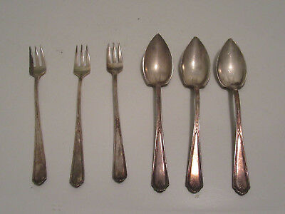 Gorham 1923 S Cocktail Forks GrapeFruit Spoons Silverplate Flatware Vanity Fair