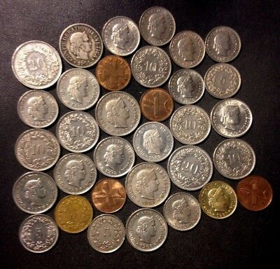 Old Switzerland Coin Lot - 1904-PRESENT - 33 Excellent Coins - Lot #N18