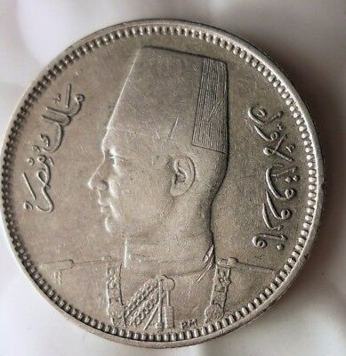 1938 EGYPT 2 PIASTRES - Early Date Islamic Silver Coin - Lot #D16
