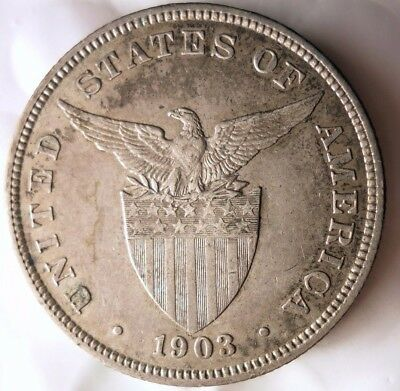1903 PHILIPPINES 50 CENTAVOS - High Quality AU - MASSIVE VALUE SILVER - Lot #D16