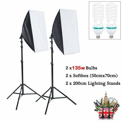 Photo Studio 2x135W Soft Box Continuous Lighting Softbox Light Stand Kit Set