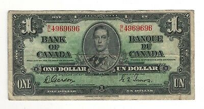 Canada 1937 $1 Bank of Canada Banknote S/L